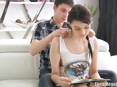 Naughty boyfriend giving hot massage and hard fuck to sweet gadget