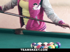 Blonde amateur has lost in the billiard game
