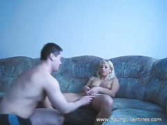 Tight blonde chick Polina undresses and excites from cunnilingus
