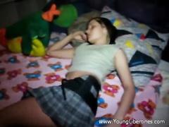 Delightful teen brunette Katy hotly poses on the bed before having hardcore fuck