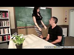Hot brunette teacher got seduced and fucked hard in her office