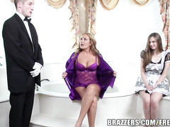 Charming Elexis Monroe and her stepmother and having ffm threesome fuck